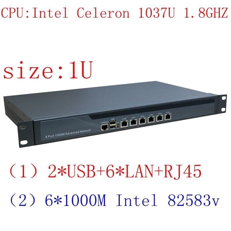 C1037u mini dispositivo do servidor do pc 6 lan, servidor do dispositivo 1u rackmount da firewall, roteador pfsense do firewall para o café da internet