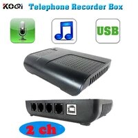 10pcspack 2 channels usb telephone recording box telephone call voice logger record business information for you