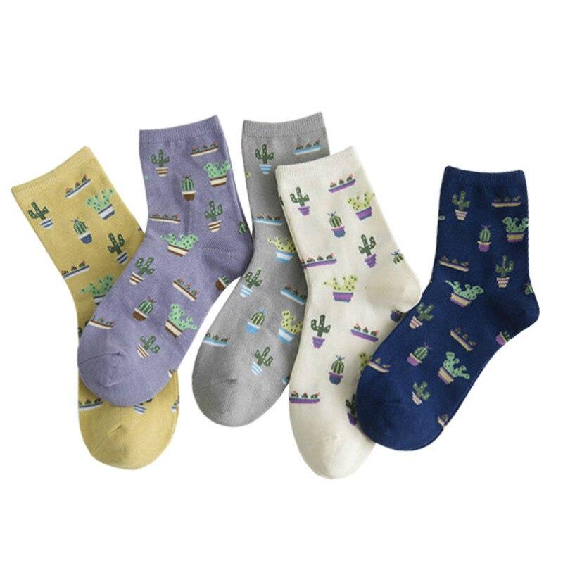 Jeseca dibujo con Cactus las mujeres calcetines de algodón Harajuku calcetín de Streetwear para estilo universitario japonés chicas Kawaii lindo calcetín de regalos