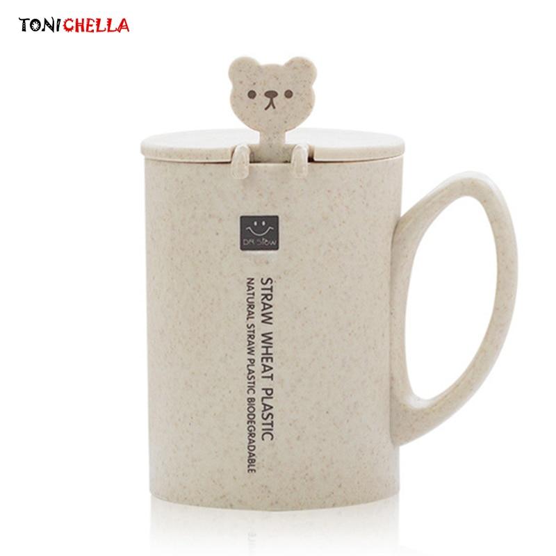 Tazas de agua de paja de trigo, biberones de entrenamiento para bebés, tazas para aprender a beber con una bonita cuchara con forma de gato, tazas para regalo de niños T2512