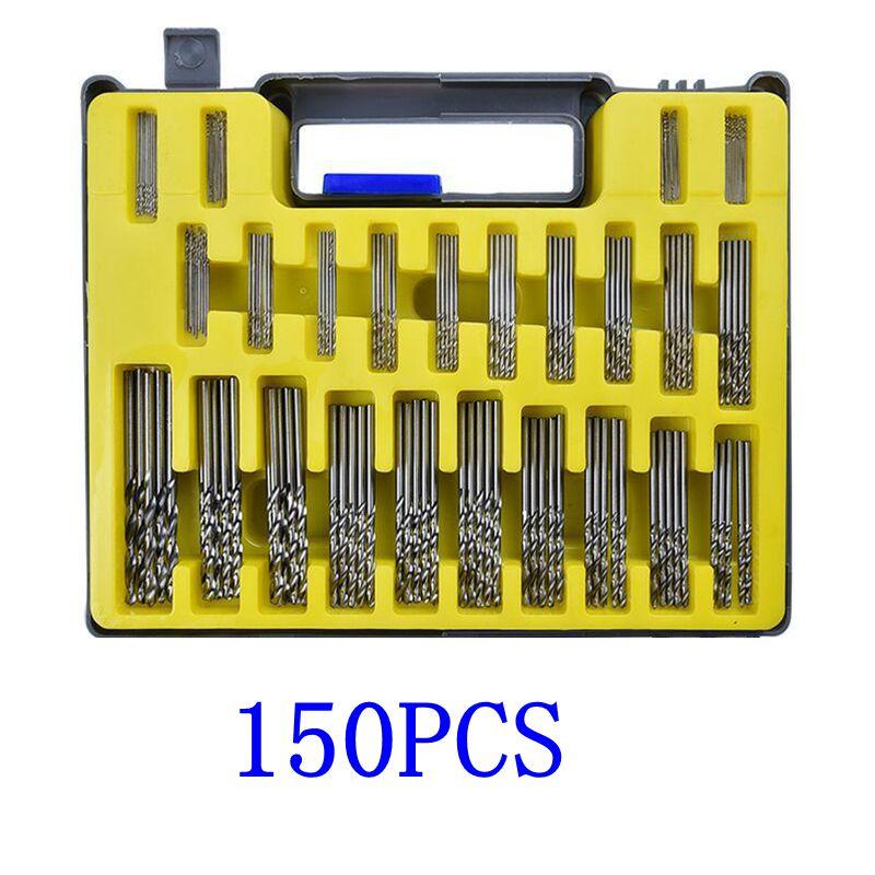 Juego de brocas 150 Uds 0,4-3,2mm de pequeña precisión con funda de transporte caja de plástico Mini herramientas de mano HSS juego de brocas