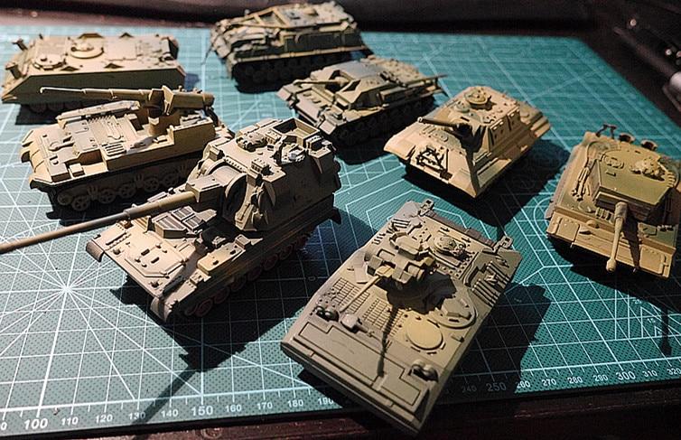8 шт. 172 4D пластиковые сборные наборы резервуаров 2-го поколения для второй мировой войны, немецкие, американские, британские, советские, воен...