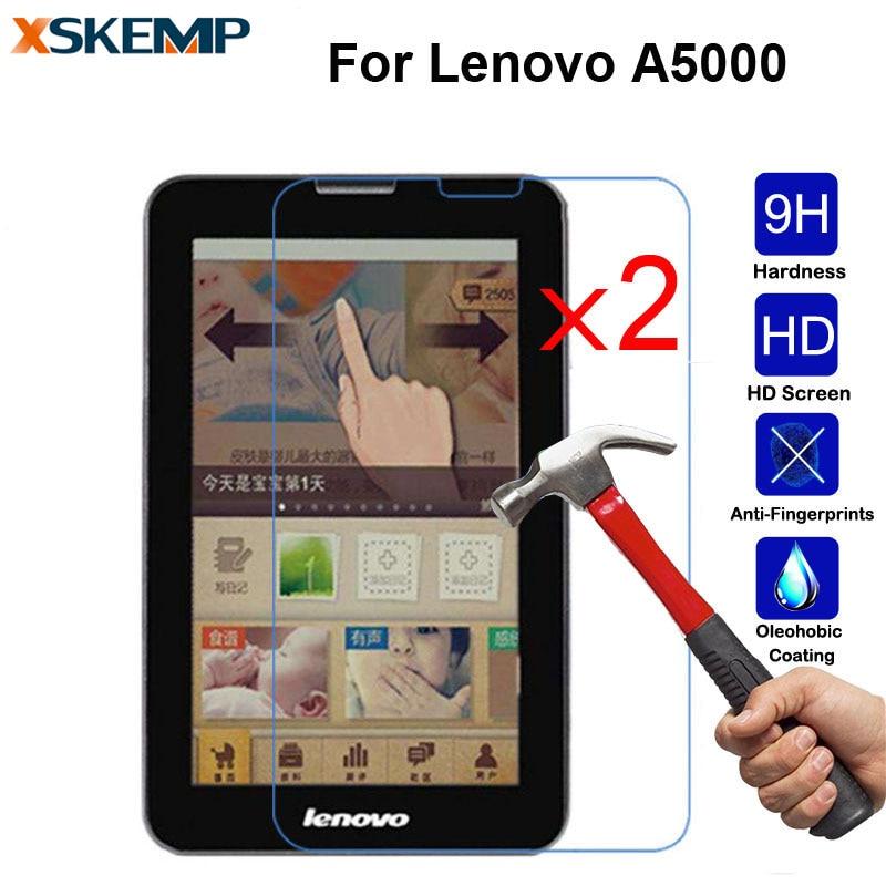 "XSKEMP 2 шт./лот глянцевая Защитная пленка для экрана для Lenovo A5000 7 ""9 H твердость 2.5D Arc Edge 0,3 мм без отпечатков пальцев закаленное стекло"