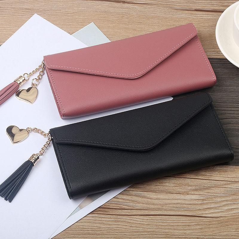 ¡Moda 2019! Carteras para mujer, bolsos con borla simples, negro, blanco, gris, sección larga, Cartera de embrague, monedero de cuero de PU suave, Carteras