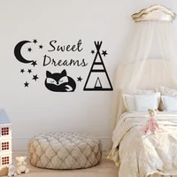 Sweet Dreams     autocollant mural en vinyle  motif tipi et renard  decoration pour chambre denfants  motif lune et etoiles  bricolage  AY1610