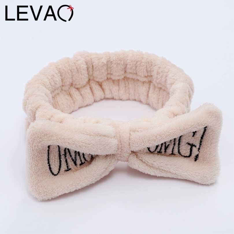 LEVAO OMG Letter Coral Velvet Bow Girls Hair Band Hairbow Cross Headband For Women Hairband Elastic Soft Turban Hair Accessories