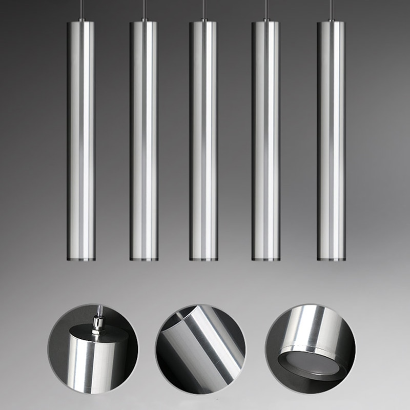 LED Pendant light Hight bright Single Light Long Bar Design Saving Energy Luxury Silver Aviation Aluminum Dining room Bar