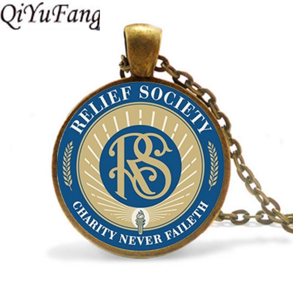 QiYuFang alivio de la sociedad Lds Mormons colgante collar joyería alivio de la sociedad símbolo cadena envío gratis regalo hombres collares mujeres
