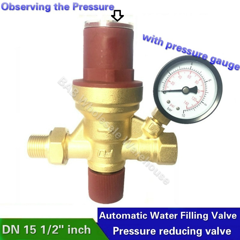DN15-صمام تعبئة مياه أوتوماتيكي ، 1/2 بوصة ، لمراقبة ضغط الماء ، مع مقياس ضغط وصمام تخفيض الضغط