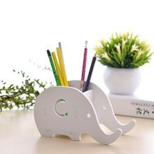 Creative 1 pc porte-stylo mignon kawaii éléphant Animal porte-table support de téléphone mobile boîte de rangement papeterie bureau organisateur cadeau