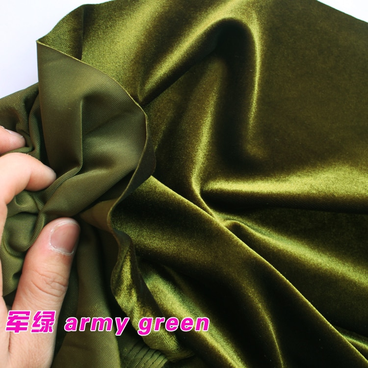 Армейская Зеленая Шелковая Бархатная ткань, велюровая ткань, ткань для одежды, вечерняя одежда, спортивная одежда
