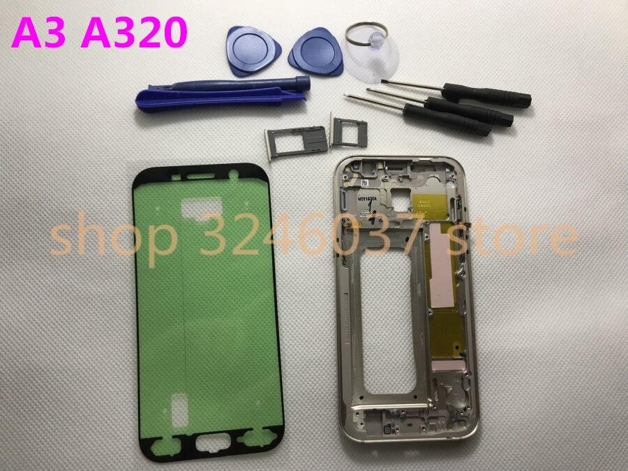 Marco medio para Samsung Galaxy A3 2017 A320 A320F bisel medio chasis de carcasa de metal con llave lateral ranura para tarjeta SIM