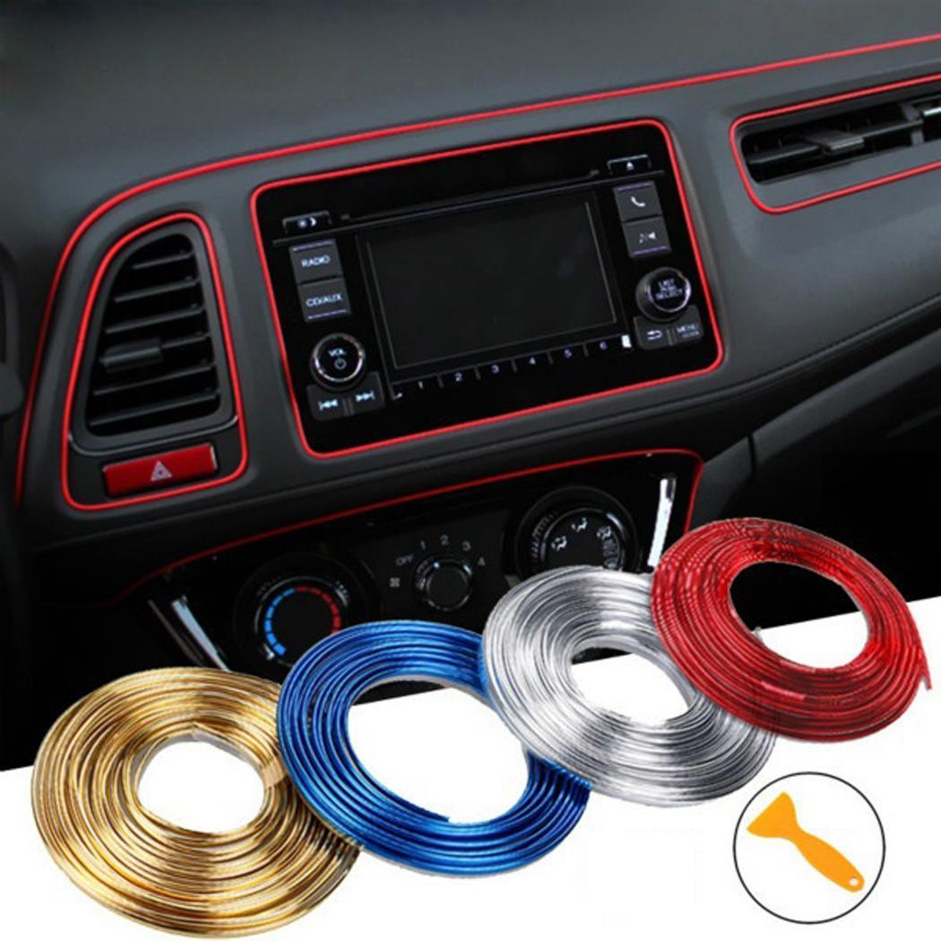 Sailnovo 5M DIY coche tira embellecedora Auto pegatinas decoración de puerta Interior pegatina decoración Flexible calcomanías accesorios de estilo de coche