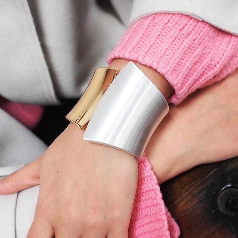 MANILAI Classic Punk Shiny Surface Alloy Statement Cuff Bangles Bracelets For Women Fashion Jewelry Big Alloy Bangle Wholesale