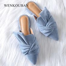 Frauen Sandalen Sommer Weibliche Flache Schuhe Flock Bowtie Hausschuhe Damen Fashion Low Heels Maultiere Elegante Blau sandales Femme 2020