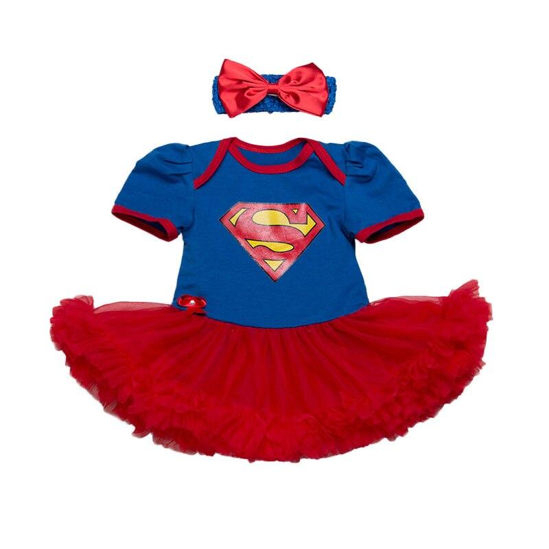 Nuevo Bebé conjuntos de ropa de niña de encaje Tutu Romper vestido Jumpersuit + diadema 2 uds conjunto Bebes infantil 1st cumpleaños superhéroe trajes