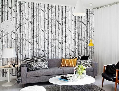 4*10 meter/lot Birch Tree  woods wallpaper roll modern designer wallcovering simple wallpaper