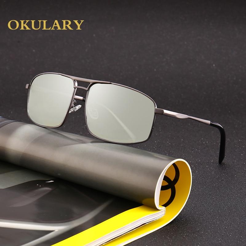 2021 Rectangle Polarized Sunglasses Men Metal Frame Brown/Black UV400 Driving Glasses For Men With Box
