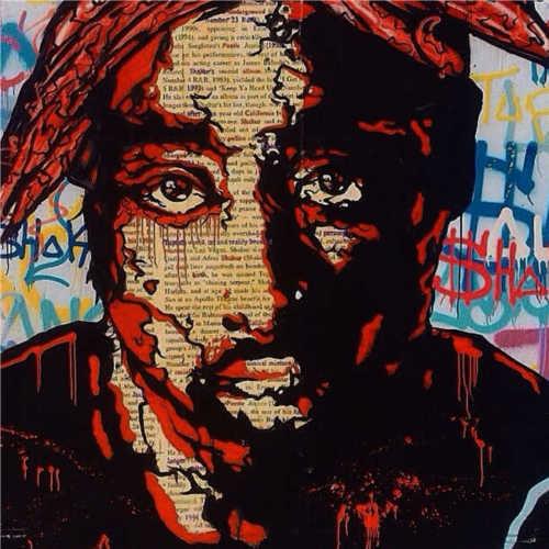 """Retrato de 100% hecho a mano en lienzo 2PAC 28x28"""""""