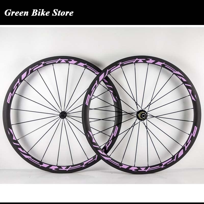 Superteam 38mm Juego de ruedas de carbono 700C Powerway R13 ruedas de bicicleta de carretera de carbono