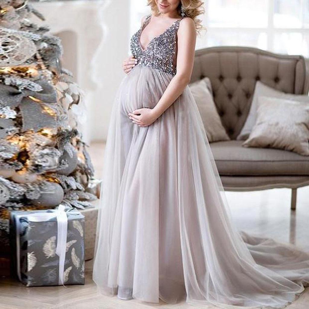Blingbling платья для беременных, сексуальное женское платье на бретельках с треугольным вырезом и блестками, длинное выпускное платье для бере...