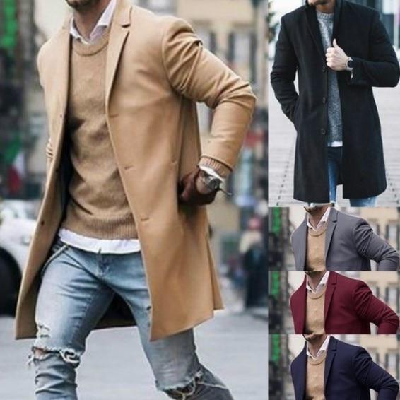 New Arrival Winter Fashion Men Slim Fit Long Sleeve Cardigans Blends Coat Jacket Suit Solid Mens Lon