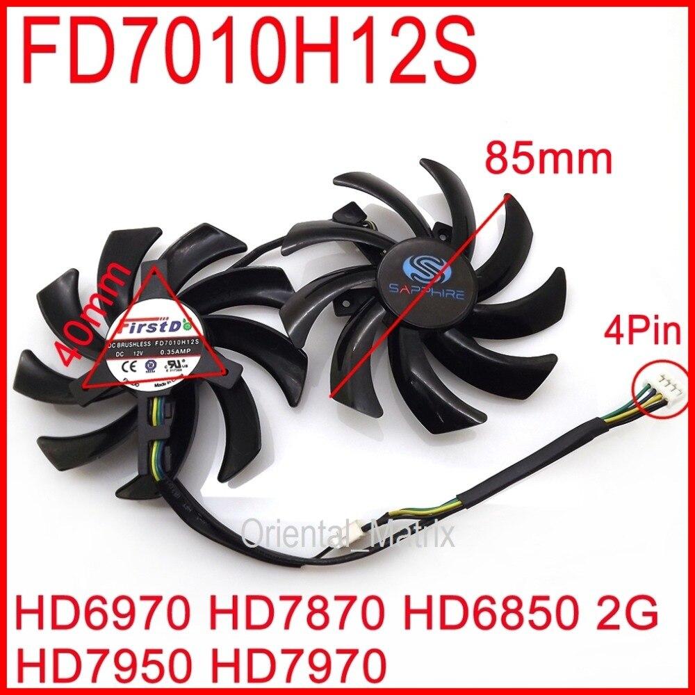 شحن مجاني 2 قطعة/الوحدة FD7010H12S 85 مللي متر ل الياقوت R9 270X 280X HD6970 HD7870 HD7950 HD7970 بطاقة الرسومات تبريد مروحة