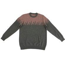 Nieuwe collectie 100% geit kasjmier o-hals knit mannen mode kleurverloop trui groen 2 kleur S-2XL