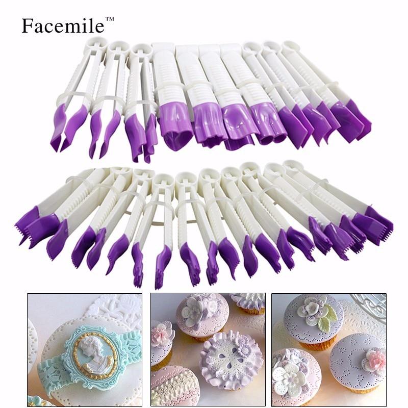 Facemile 20pcs/set Sugar Craft Cake Decorating Fondant Crimper Tool Set Baking Fondant Cake Tools Mould ZH013