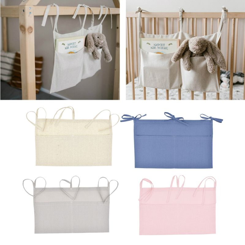Baby Crib Organizer Bed Hanging Storage Bag For Baby Essentials Multi-Purpose Baby Bed Organizer Han