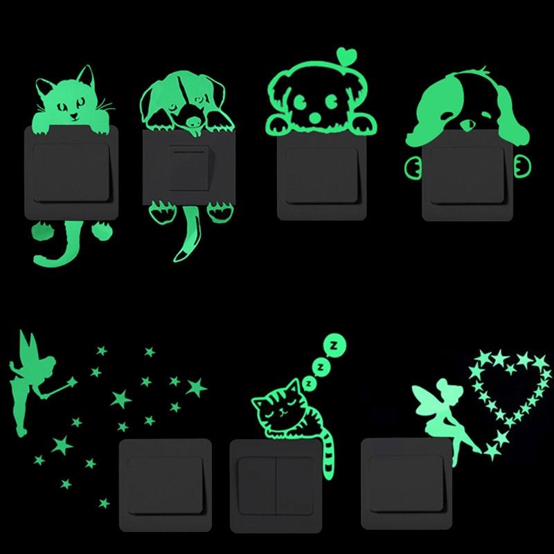 Cartoon Luminous Switch Sticker Glow in the Dark Wall Stickers Home Decor Kids Room Decoration Stick