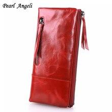 Perle Angeli en cuir véritable longues femmes portefeuilles Femme porte-carte porte-monnaie téléphone portable pochette Portefeuille Portefeuille Femme