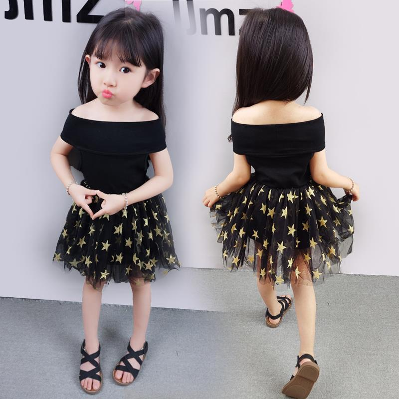 Vestido de fiesta negro a la moda informal con estampado de 5 estrellas sin hombros para niña vestidos de princesa Estilo Dulce niñas pequeñas