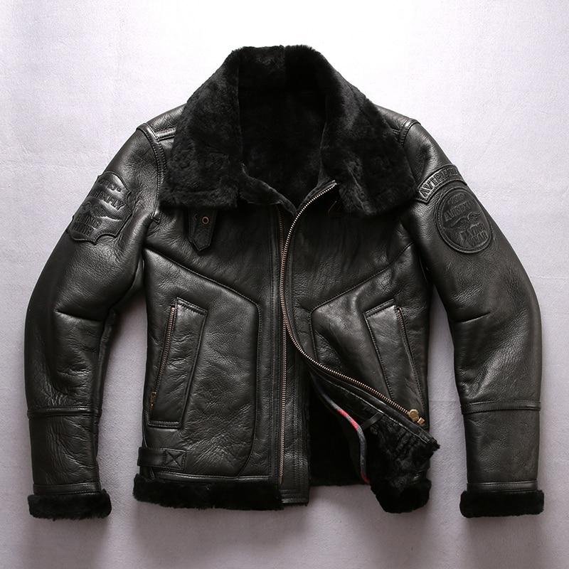 2018 New Men Shearling Genuine Leather Sheepskin Jacket Casual Wool Liner Winter Russia Coats