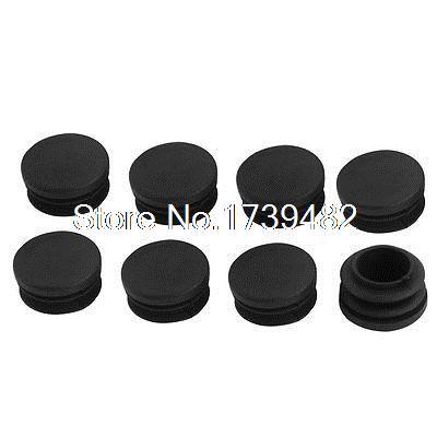 8 piezas de plástico negro 30mm diámetro tubo redondo inserto Tapas