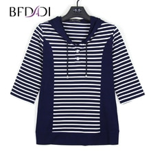BFDADI 2019 Frühling Frauen T-Shirts 3/4 Sleeve Striped Muster Mit Kapuze Casual T shirt Weibliche Tees Elegante Damen Tees Tops Z-1801