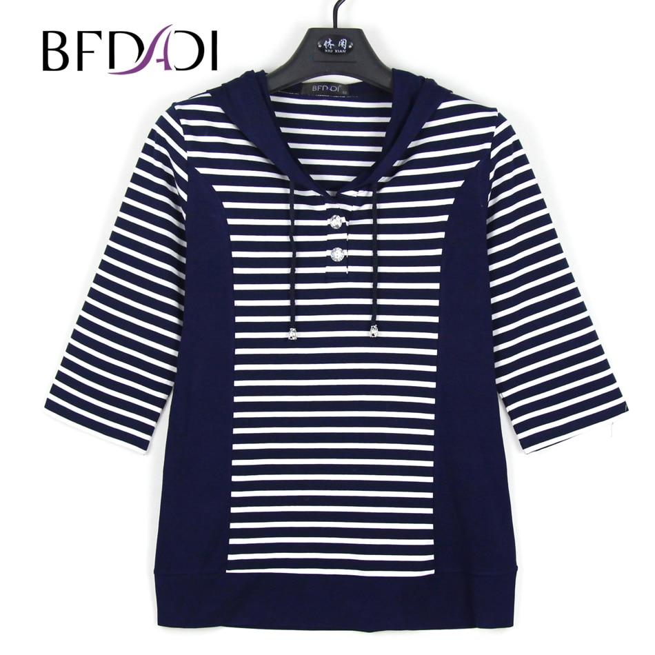 BFDADI 2019 Spring Women T-Shirts 3/4 Sleeve Striped Pattern Hooded Casual T shirt Female Tees  Elegant Ladies Tees Tops Z-1801