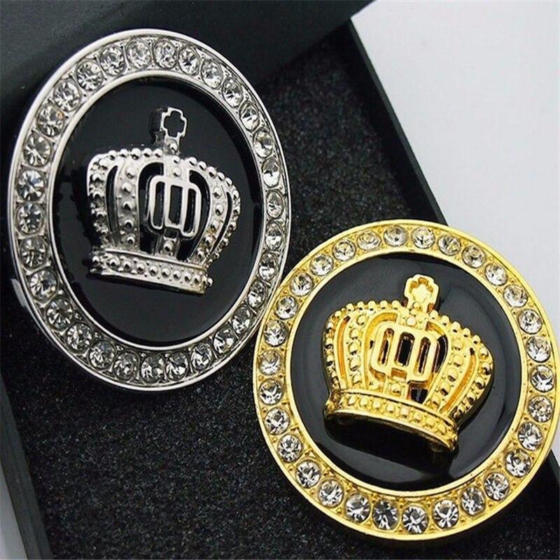 Nowa metalowa królewska korona złota i dobrej jakości metalowa Autolobiles zewnętrzna naklejka srebrna luksusowa emblemat VIP przypinka samochodowa kalkomania