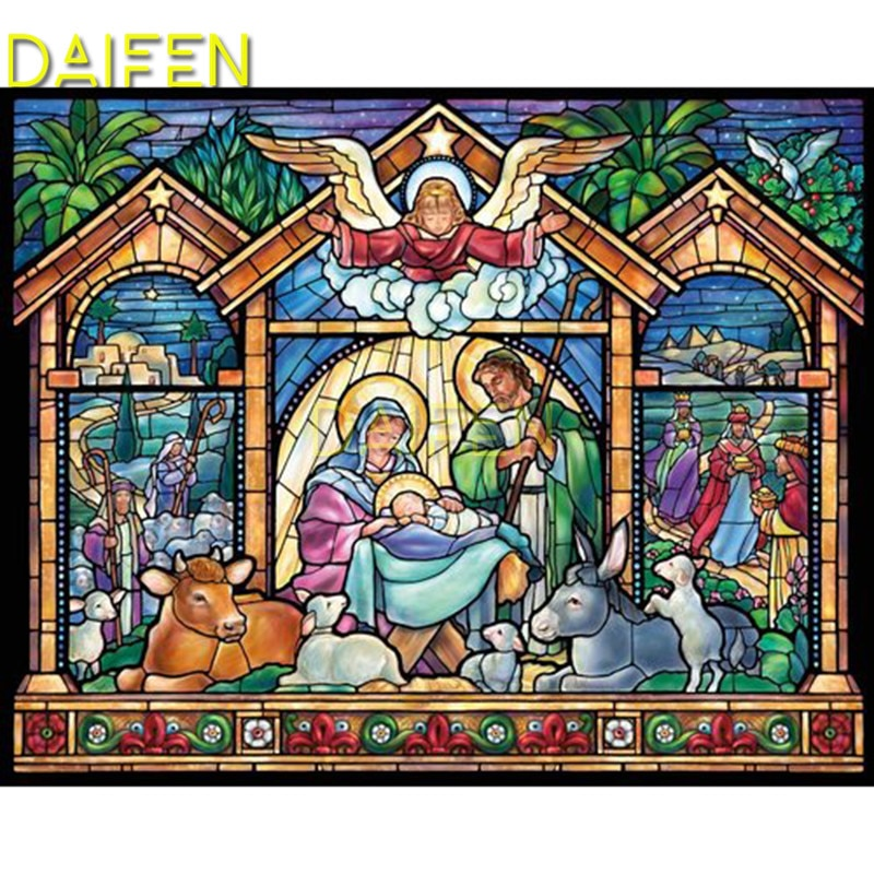 Praça cheia de diamante bordado religião ângulo jesus bebê vaca ovelhas diy mosaico diamante redondo completo pintura diamante ponto cruz