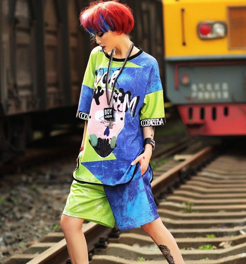 Conjunto de verano para mujer divertido estampado de grafiti Tops de manga corta + Pantalones conjunto de 2 piezas ropa de baile hip hop