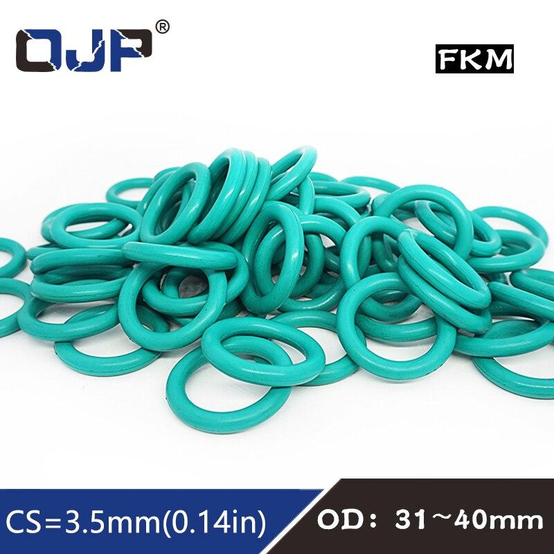 5 unidades/lote anillo de goma verde FKM o sello de anillo de 3,5mm de espesor OD31/32/33/34/35/36/37/38/39/40mm junta de goma de sellado de aceite