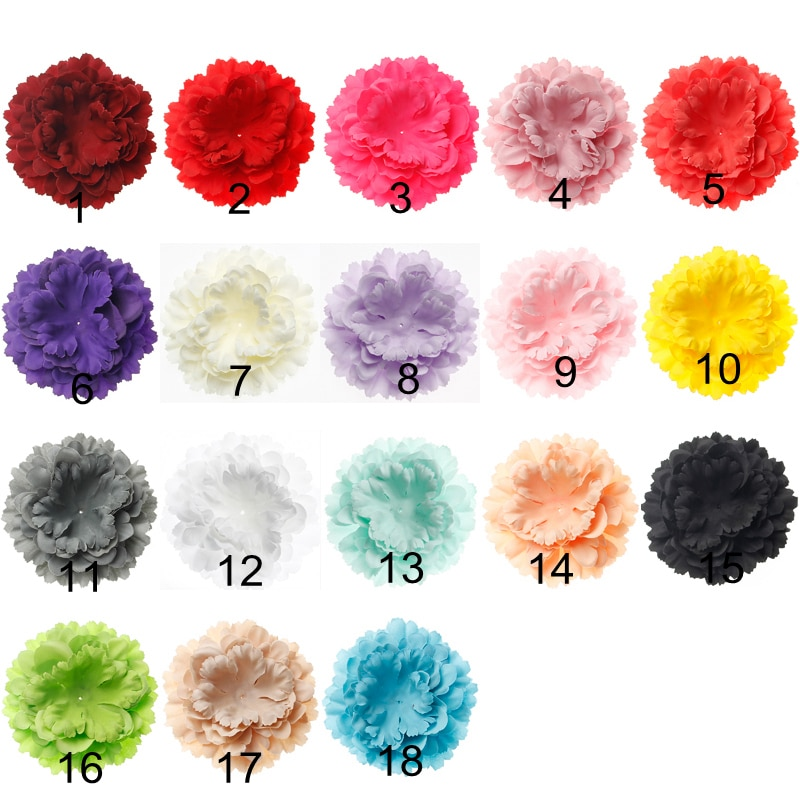 (120pcs/lot) Newborn Chic Peony Flower For Baby DIY Hair Accessories 12CM Artificial Fabric Flowers For Baby Girls Headwear