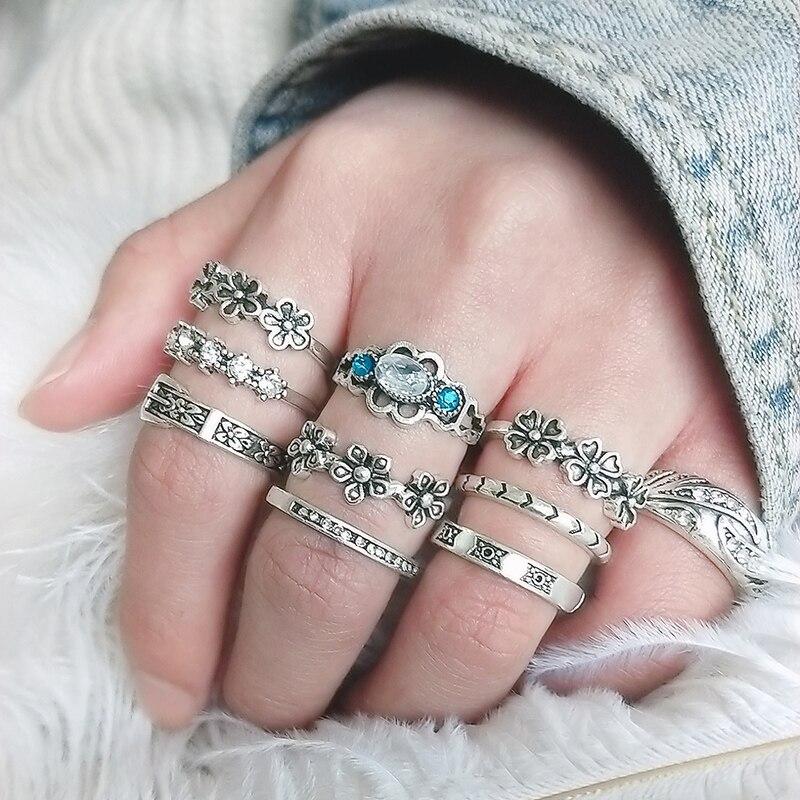 Jewdy, Anillos de joyería de cristal Punk bohemio, 10 unids/lote para mujeres, juego de anillo de flor de caballo antiguo, Anillos Corona
