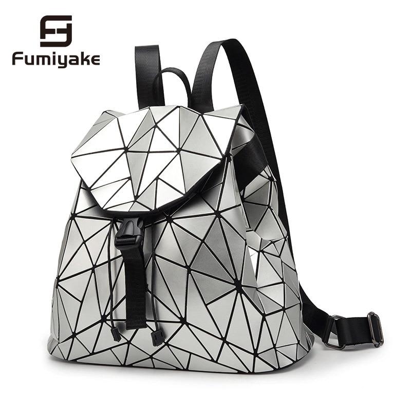 Mochila de mujer, mochilas femeninas de cuadros geométricos con lentejuelas para chicas adolescentes, mochila con cordón, mochila holográfica