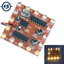 Kit de bricolaje electrónico NE555 + 74HC595 16Bit 16 canales de luz de flujo de agua luces LED módulo Kit de luz de carrera Placa de práctica de soldadura