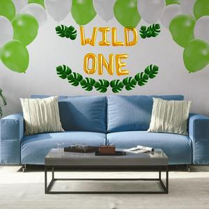 Baby Party Cartoon Balloon Decoration Set WILD ONE Inflatable Letter Boy Girl First Birthday Party Banner Decor Balloon