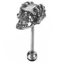 1 قطعة الفولاذ المقاوم للصدأ الجمجمة خواتم الحديد مجوهرات وهمية ثقب اللسان ثقب Langue الصناعية بار Pircin