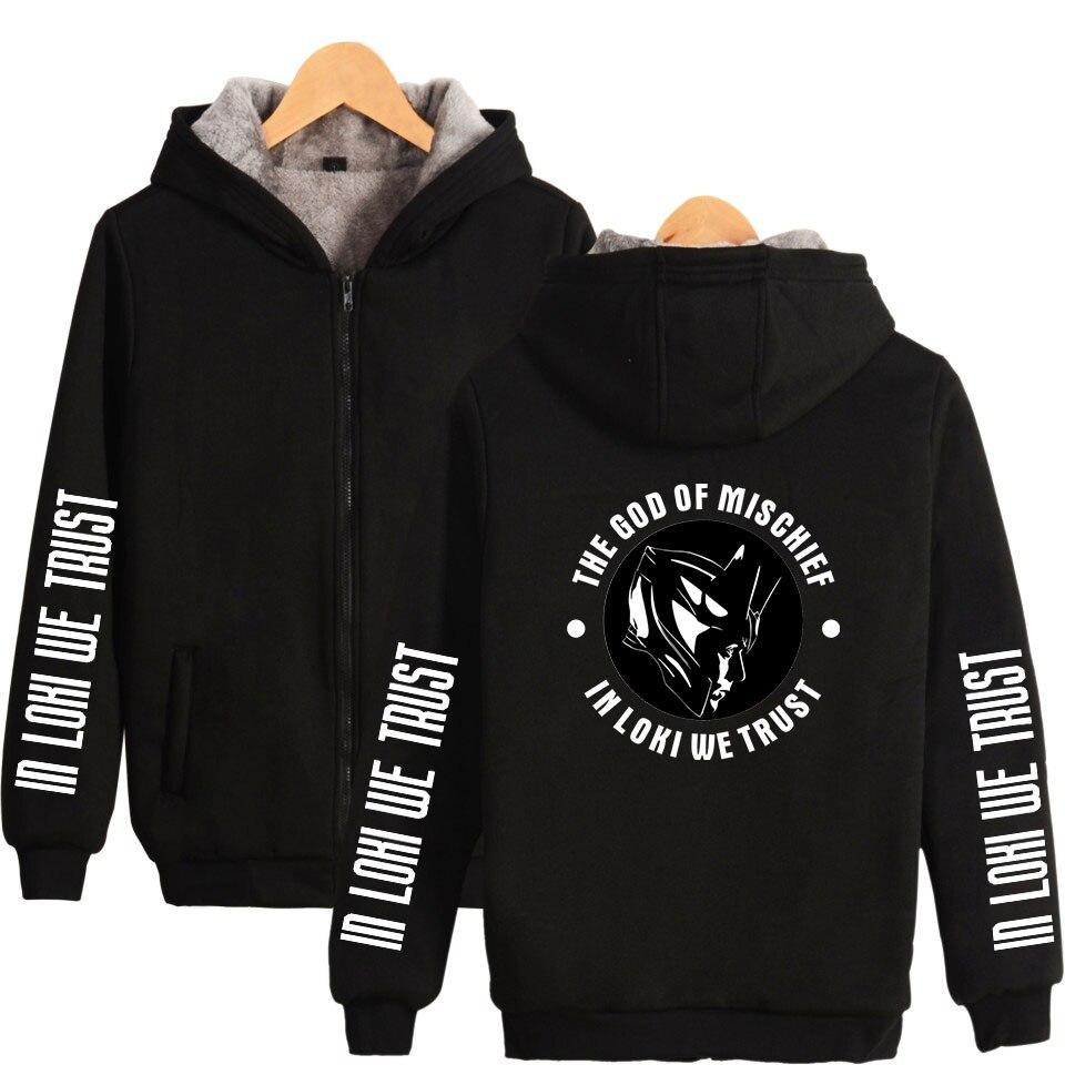 LOKI Thicken hoodie 2019 New Men Fashion Zipper Hooded Sweatshirt Casual Thicken Hoodie Harajuku Sweatshirt