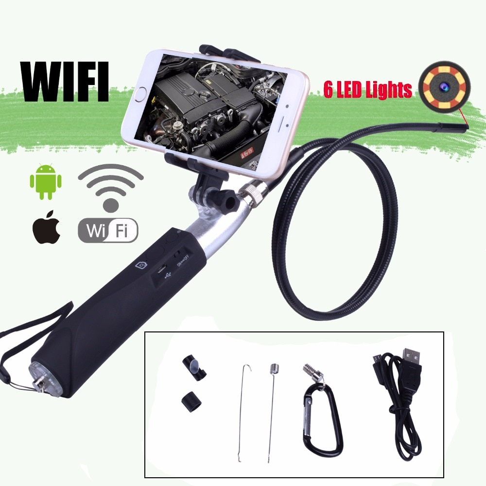 Zcf110 wifi câmera endoscópio inspeção 1m cabo rígido handheld ios android 8mm lente à prova dwaterproof água 6led câmera para iphone