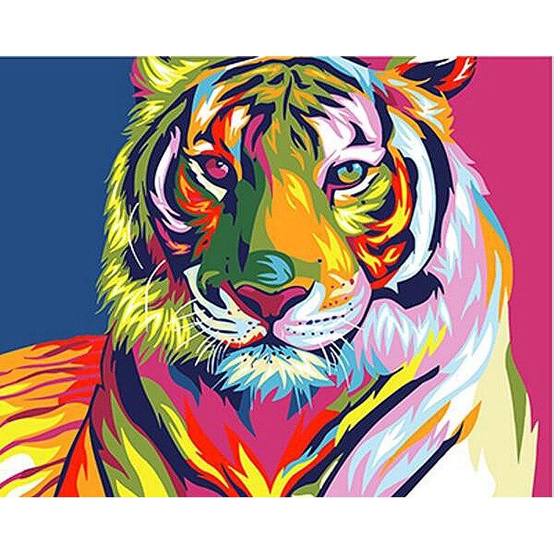Pintura por números diy dropshipping 40x50 50x65cm colorido cabeça de tigre animal lona decoração do casamento arte imagem presente